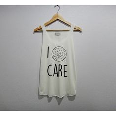 wowafter I Donut Care Shirt Tank Top Women Size S M L ($15) ❤ liked on Polyvore featuring tops, black, tanks, women's clothing, black tank top, shirt tank, black top, cocktail tops and black singlet
