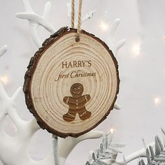 Personalised Gingerbread Man Hanging Decoration Made from pine and engraved with the words First Christmas as standard. This adorable ornament is a wonderful gift for baby on their first ever Christmas. Keep this ornament for years to come to be ch http://www.MightGet.com/january-2017-13/personalised-gingerbread-man-hanging-decoration.asp