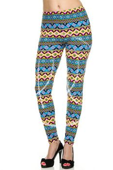 Brushed Aztec Print Ankle Leggings One Size Fits Most / Lainie Day