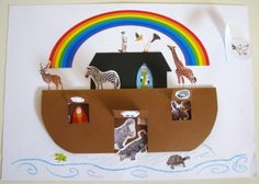 Noah's ark - flaps up  Use animal stickers. The Ark is simply folded double (fold on top). Inside are even more animals 'hidden' until flaps/ entire hull is lifted.