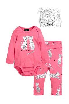 Комплект из трех предметов - Розовый/Ягуары - Дети | H&M RU 1