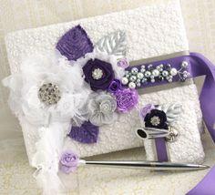 Pluma y libro de boda Set libro de firmas en blanco, púrpura, Lila y plata - Vintage novia
