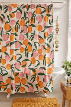 Best Shower Curtains: This fruit print curtain will freshen up your bathroom