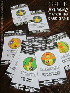 Relentlessly Fun, Deceptively Educational: Greek Mythology Matching Card Game (free printable) (I just wish they weren't cartoon charachets, but photos of busts - the cartoon characters make it hard to recognize the real thing). History Activities, Educational Activities For Kids, Therapy Activities, Preschool Activities, Greek Gods And Goddesses, Greek Mythology, Norse Mythology, Greek History, Ancient History