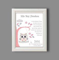 Baptism Gift for Baby Girl - Christening Gift for Girls - Owl Nursery Art - Personalized Baptism Gift - - PRINT on Etsy, $15.00