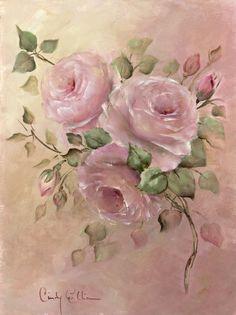 Vintage Flower Prints, Vintage Flowers, Rose Oil Painting, Hand Painted Fabric, Floral Drawing, Free Art Prints, Decoupage Vintage, Rose Art, Beautiful Paintings