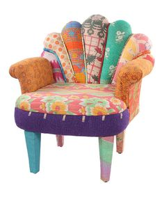 Enliven décor with a splash of bohemian flair. Featuring a unique, peacock-inspired design in an eclectic blend of vintage fabrics, this chair offers a cozy spot to rest while adding a touch of personality to any room.Note:This one-of-a-kind item is made from vintage fabric and may appear in colors or patterns other than shown.29'' W x 33'' H x 20'' DMango wood / vintage cotton kantha upholsterySpot cleanImported