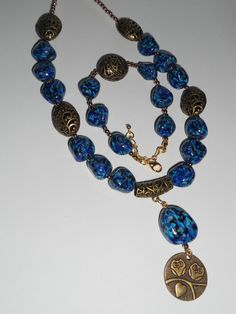 Beautiful necklace and bracelet made of polymer clay