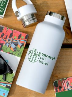 Varo Sports Bottle, printed or engraved with your logo! #Varo #DoubleWalled #StainlessSteel #500ml #Marketing #Giveaway #Refillable #Reusable #Eco Top Water Bottles, Display, Drinks, Giveaway, Sports, Marketing, Logo, Printed, Floor Space