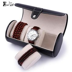 Cylindrical PU jewelry box organizer Watchs jewelry display box dust-proof box travel carry portable Container Boxes