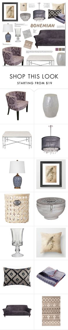 """Home Decor - Bohemian Living Room"" by anyasdesigns ❤ liked on Polyvore featuring interior, interiors, interior design, home, home decor, interior decorating, Jeffan, Dainolite, John-Richard and Juliska"