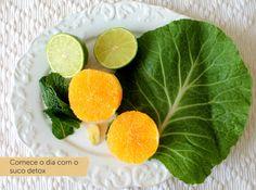 Ingredientes do suco detox 1 folha de couve manteiga 1 laranja descascada Sumo de 1 limão 6 folhas de hortelã 1 pedaço de 1cm de gengibre Sumo Detox, Cantaloupe, Lunch, Fruit, Bronze, Smoothie, Food, Fitness, Kale Juice
