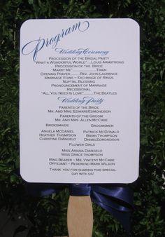 Wedding Program Fan, Dark Blue Program Fan, Program Fan on a stick. $2.50, via Etsy.