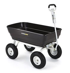 Gorilla Carts Poly Garden Dump Cart with 2in1 Convertible Handle with a Capacity of 1000 lb Black >>> Read more reviews of the product by visiting the link on the image.