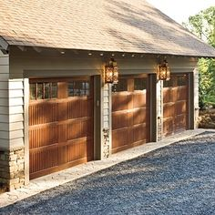 Do you want the look of wood garage doors but not all the maintenance? Look no further than Wayne Dalton fiberglass exterior garage doors that will give you the look of an upscale wood door. A great way to enhance the curb appeal of your home! Faux Wood Garage Door, Garage Door Windows, Wood Doors, Fake Wood Flooring, Wood Siding, Fiberglass Garage Doors, Wayne Dalton Garage Doors, Residential Garage Doors, Garage Door Makeover
