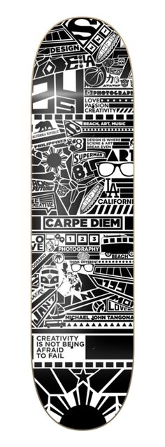 This skateboard deck was designed by Michael Tangonan (Digital Arts & Design, 2012 grad).