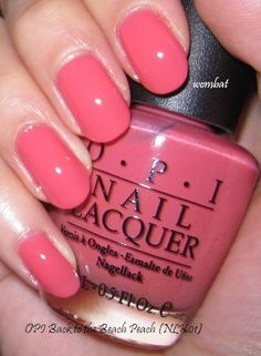 OPI Back to the Beach Peach is a bright corally pink/peach creme that has a smooth, glazed like finish. It is bright, but not garish, a ver...
