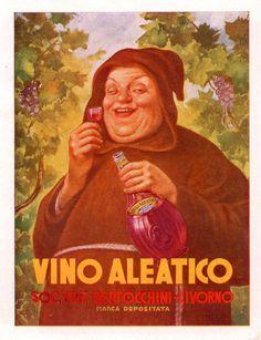 Pubblicità originale Anni 50 VINO ALEATICO Livorno advertising werbung reklame