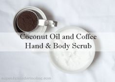 Make and all natural body and hand scrub from coconut oil and leftover coffee grounds. cup coconut oil and cup used coffee grounds (dried). Coconut Oil Body Scrub, Coconut Oil Lotion, Natural Coconut Oil, Coconut Oil For Body, Body Butter, Coffee Cellulite Scrub, Coffee Face Scrub, Natural Body Scrub, Body Scrub Recipe