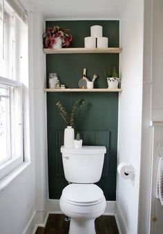 Mini Bathroom Makeover Give your bathroom a mini makeover with an accent wall and some easy diy shelves! Mini Bathroom Makeover Give your bathroom a mini makeover with an accent wall and some easy diy shelves! Small Toilet Room, Diy Shelves, Diy Bathroom, Bathroom Renovation, Master Bathroom Design, Bathroom Inspiration, Bathroom Decor, Bathrooms Remodel, Toilet Room