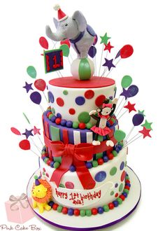 Flared Circus Elephant Birthday Cake by Pink Cake Box in Denville, NJ.