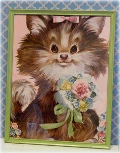 Vintage Kitsch Framed Puppy Dog Print