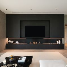 Feature Wall Living Room, Living Room Wall Units, Living Room Tv Unit Designs, Home Living Room, Living Room Sofa Design, Living Room Decor Fireplace, Home Fireplace, Fireplace Design, Modern Tv Room