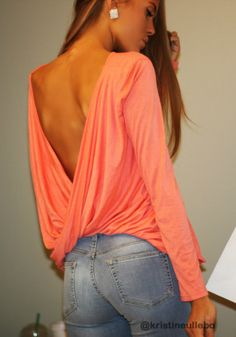 Draped V-back Top - Pink - Stretchable Fabric Blouse