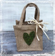 Burlap And Moss Heart Ring Bearer Pillow  Rustic by sparkleandposy, $17.00