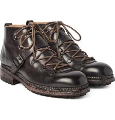 Based on a skiing style worn by the designer's great-grandfather in St Moritz circa 1922, <a href='http://www.mrporter.com/mens/Designers/OKeeffe'>O'Keeffe</a>'s handsomely robust washed-leather boots nod to a bygone era. Beautifully hand-constructed with individually distressed and tooled wooden sole units, they are a truly unique and considered choice. The resilient commando rubber soles, moisture-guarding Norwegian welts a...