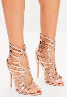 8059347a2bf4 Missguided Rose Gold Plaited Multi Strap Gladiator Heels Rose Gold Heels  Wedding