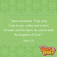 John 3:5  What does it mean to be part of the Kingdom of God?