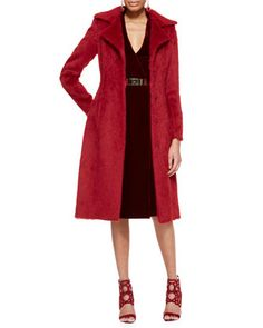 Long Alpaca Princess Coat, Long-Sleeve Velvet Dress & Golden Metal Waist Belt by Oscar de la Renta at Neiman Marcus.