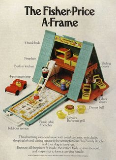 I LOVED the faux sliding glass doors in this house! vintage fisher price a frame - the bitty mini