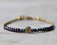 Brass hexagon bracelet: mystic black spinel beaded bracelet. Brass & beads collection.. $24.00, via Etsy.