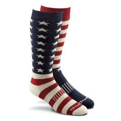 Fox River Old Glory Medium Weight Snowboard Socks // Feature a soft Merino wool that resists abrasions and embraces your foot. The Wick Dry Technology moves moisture away from your skin to keep your feet dry and warm while full cushioning absorbs shocks and insulates. The URfit System provides arch support and memory-knit construction.