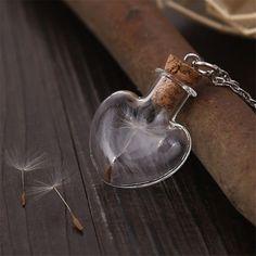 Bottle Necklace Heart Pendant Lucky Necklace
