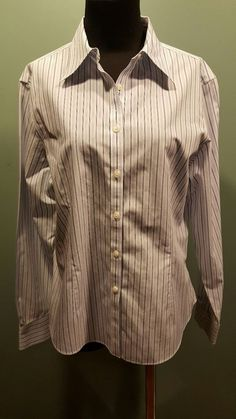 Brooks Brothers Fitted Non Iron All Cotton White Blue Striped Dress Blouse 12  #BrooksBrothers #Blouse #CareerDress $23