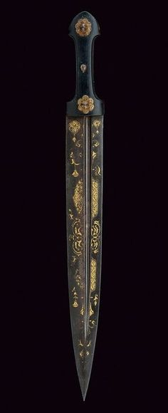 Kindjal Dagger. Dating: circa 1800. Culture: Caucasian | NOT OUR ART | Inspiration for Dungeons and Dragons Pathfinder Warhammer 40k Star Wars Exalted World of Darkness 13th Age Iron Kingdoms Fate Core Savage Worlds Shadowrun Call of Cthulhu Traveller Battletech The One Ring d20 DND PFRPG science fiction sci-fi horror art | Create your own roleplaying game books! RPG Bard: www.rpgbard.com