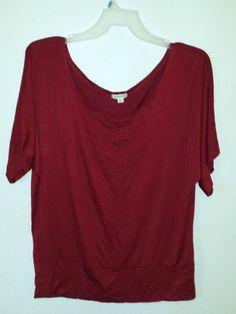 Zenana Outfitter 3x 1x2x Dolman Soft Shirt Red Banded Hem Rockabilly Pin-Up Plus