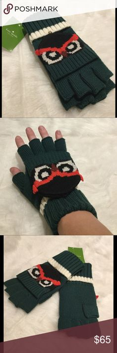 NWT Kate Spade Who Me Pop-Top Gloves Super cute fingerless, convertible, foldover owl printed mitten with button closure by Kate Spade.  Fold over rib knit cuff.  100% Wool.  Button closure features Spade logo.  Color: Lily Pad. kate spade Accessories Gloves & Mittens