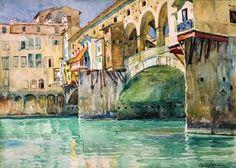 Oppenheimer, Charles, (1875-1961), Ponte Vecchio, Watercolour