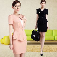 2013 Women's Slim Work Wear Skirt Suit Uniform Black and Pink Blazer & Skirt for Office Ladies Formal Business Suit Career Sets-inSkirt Suit...