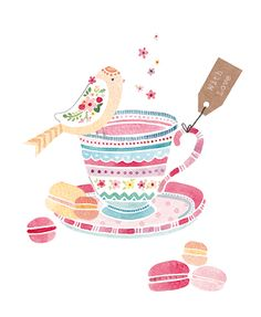 Bird & Tea Cup - Greeting Cards - Blank Cards - Felicity French Illustration   www.felicityfrench.co.uk