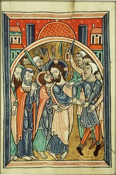 Fecamp Psalter Judas gave Jesus Christ the kiss of betrayal on the face, as a way to point out to the Roman military the right person to arrest. Note the lamp! Medieval Life, Medieval Art, Medieval Manuscript, Illuminated Manuscript, Romanesque Art, Web Gallery Of Art, Art Roman, Late Middle Ages, Book Of Kells