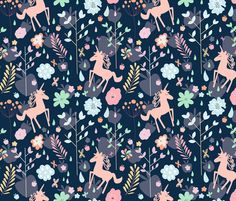 Unicorns in the Garden of Hesperides fabric by demigoutte on Spoonflower - custom fabric