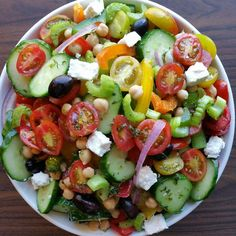 Makes 6 Servings Ingredients: 1 (15 oz) can chickpeas, drained & rinsed 1/4 red onion, slivered 1 yellow bell pepper, seeded & chopped 1 orange bell pepper, seeded & chopped 1 green bell pepper, seeded & chopped 2 cups grape tomatoes, sliced 2-4 small English cucumbers, chopped 4 stalks celery...