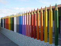 Color fence line for any school yard or playground. Kindergarten Interior, Kindergarten Design, School Building Design, School Design, Daycare Design, Nursery School, School Decorations, Indoor Playground, School Architecture