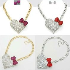 New Women Fashion Trendy Celebrity Inspired Crystal Heart/Bow Chain Necklace Set | eBay