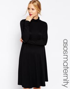 ASOS Maternity | ASOS Maternity Swing Dress With High Neck And Long Sleeves at ASOS
